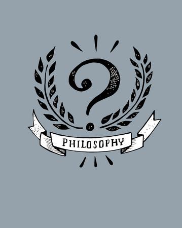 Hand getrokken vector illustratie of tekening van een phiosophy badge Stock Illustratie