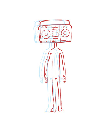 Hand drawn vector illustration or drawing of a man with a retro radio recorder instead of head