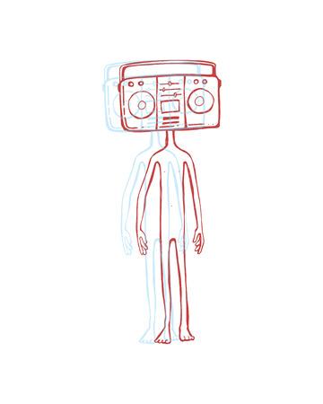 Hand getrokken vector illustratie of een tekening van een man met een retro radio-recorder in plaats van het hoofd