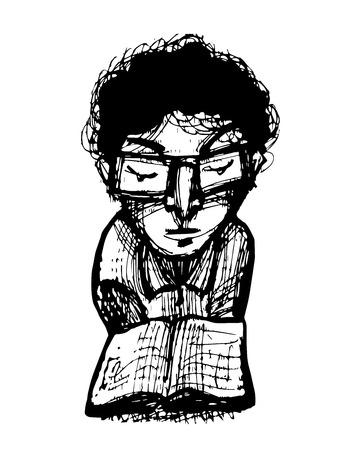 Hand getrokken vector illustratie of een tekening van een man het lezen van een boek