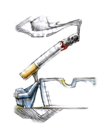 Hand drawn vector illustration or drawing of a sitting man with a cigar instead of head