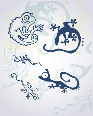 Hand drawn vector illustration or drawing of different reptiles 向量圖像