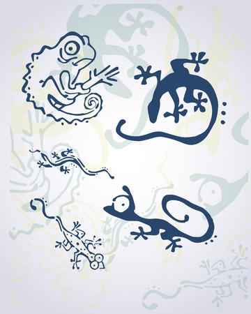 Hand getrokken vector illustratie of het trekken van verschillende reptielen
