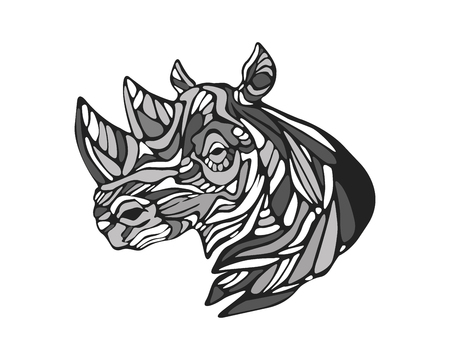 Hand drawn vector illustration or drawing of a Rhino