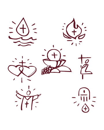 Hand drawn vector illustration or drawing of the catholic Sacraments