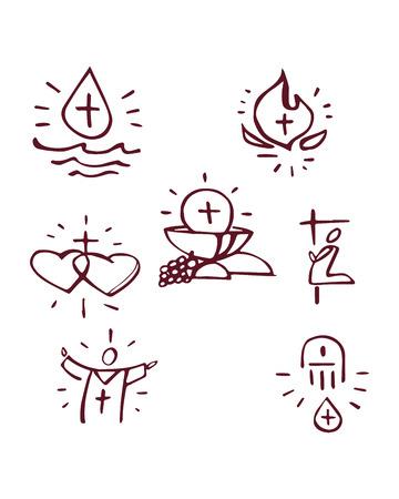 Illustrazione o disegno disegnata a mano di vettore dei sacramenti cattolici