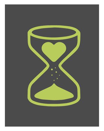 sand clock: Dibujado a mano ilustraci�n vectorial o dibujo ofHand dibuja ilustraci�n vectorial o el dibujo de un reloj de arena con un coraz�n en �l