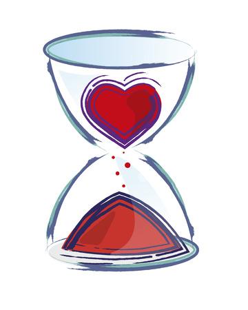 sand clock: Dibujado a mano ilustraci�n vectorial o el dibujo de un reloj de arena con un coraz�n en �l