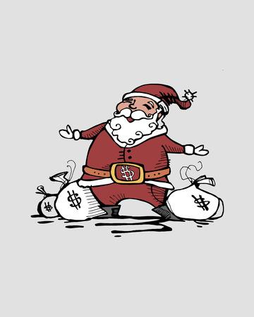 capitalismo: Hand drawn vector illustration or drawing of Santa Cash