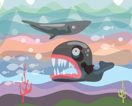 creatures: Hand drawn vector illustration or drawing of some sea creatures