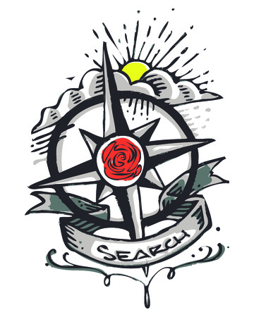 compass rose: Hand drawn vector illustration or drawing ofa compass, a rose and the word: Search