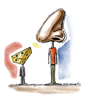 Hand drawn illustration or drawing of a man and a boy with a Nose and a cheese Instead of heads