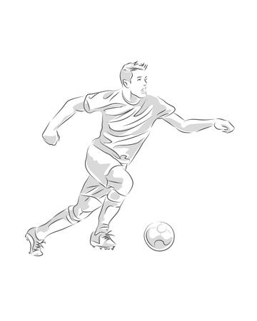 Hand getrokken illustratie of het trekken van een voetballer