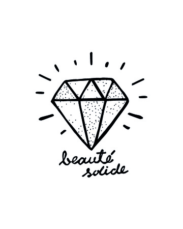 Hand drawn illustration or drawing of a diamond