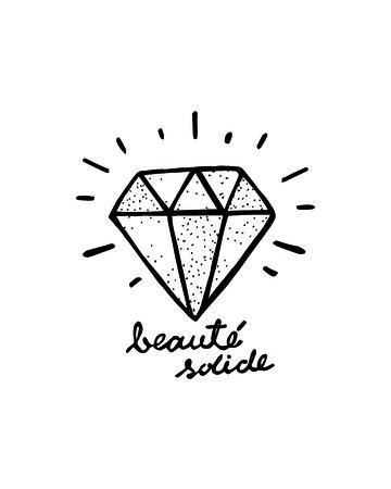 Hand getrokken illustratie of tekening van een diamant Stock Illustratie