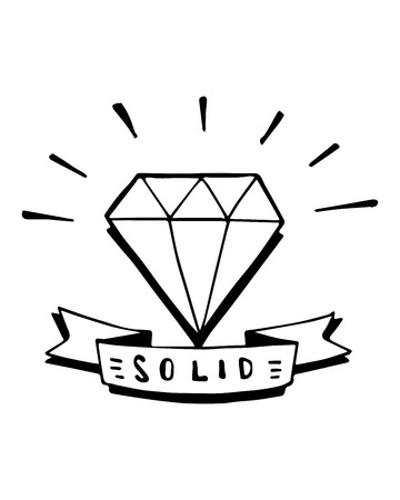 Hand drawn vector illustration or drawing of a diamond with a ribbon That says: Solid