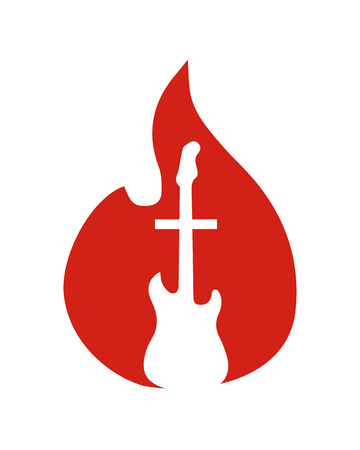 Hand drawn vector illustration drawing of a fire or flame with a guitar and a Cross inside