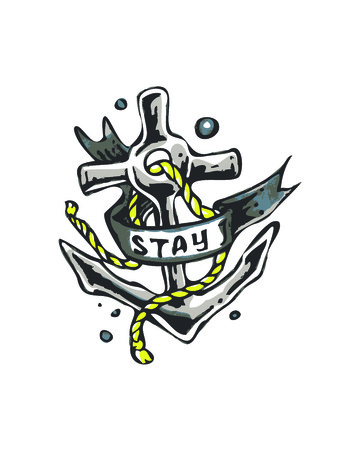 Hand drawn vector illustration or drawing of an anchor