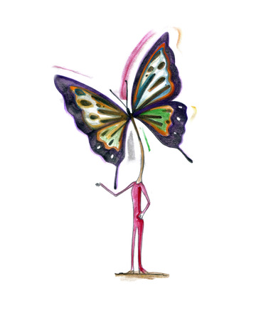 Hand drawn vector illustration or drawing of a woman with a butterfly Instead of head