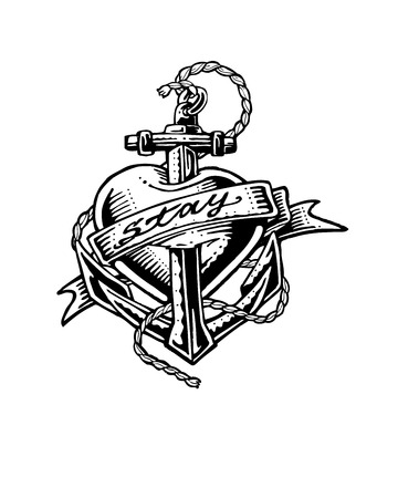 anchored: Hand drawn vector illustration or drawing of a heart with an anchor, a rope and a ribbon That says: Stay