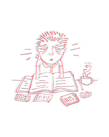 tired man: Hand drawn vector illustration or drawing of a tired man studying