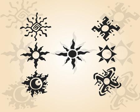 Hand getrokken vector illustratie of het trekken van de verschillende soorten zonnen