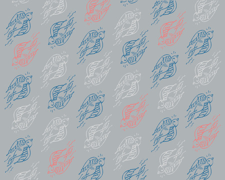 Hand drawn vector illustration or drawing of a pattern or background doves