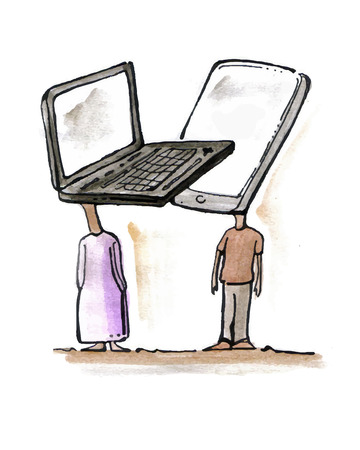 Hand drawn vector illustration or drawing of a couple of characters with a computer and a cellphone Instead of heads Illustration