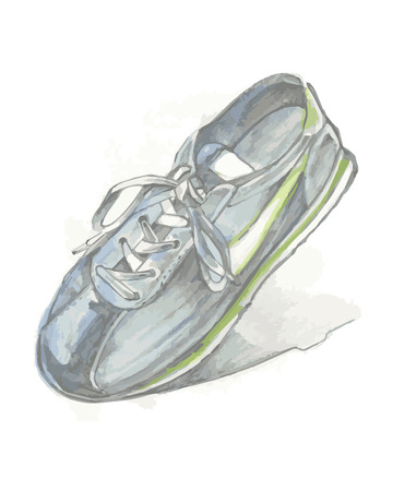 tennis shoe: Hand drawn vector illustration or drawing of a tennis shoe