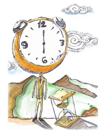 dai: Hand drawn vector illustration or drawing of a man with a clock Instead of head and with a sand clock time represnting