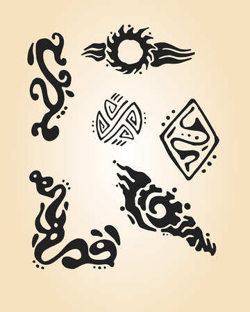Hand drawn illustration or drawing of different abstract tribal elements Vector