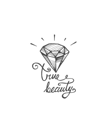 Hand drawn illustration or drawing of diamond and the handwritten phrase: True beauty Иллюстрация