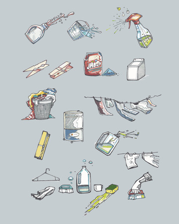 Hand drawn illustration or drawing of different washing items Illustration