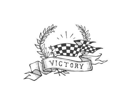 Hand getrokken vector illustratie of tekening van een krans met een vlag, een lint en het woord: Overwinning