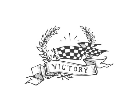 Hand drawn vector illustration or drawing of a wreath with a flag, a ribbon and the word: Victory