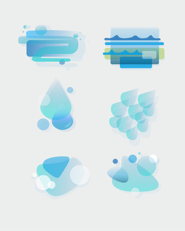 h20: Hand drawn vector illustration or drawing of different elements abstract water