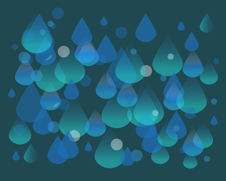 Hand drawn vector illustration or drawing of a waterdrops and bubbles pattern Иллюстрация