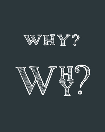 Hand drawn vector illustration or drawing of the word: why Ilustracja