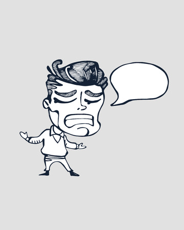 Hand drawn vector illustration or cartoon style drawing of a worried man