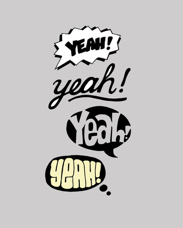 Hand drawn vector illustration or drawing of different options for the word: Yeah
