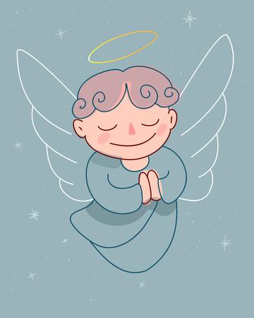 Hand drawn vector illustration cartoon drawing of an angel