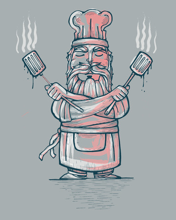 chef s hat: Hand drawn vector illustration or drawing of a funny chef with a serious expression