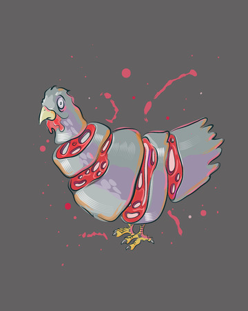 Hand drawn vector illustration or drawing of a sliced chicken Vector