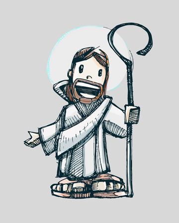 예수님 만화. 미소 예수 선한 목자의 손으로 그린 벡터 일러스트 레이 션 또는 도면