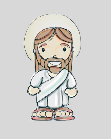 Jezus: Ręcznie rysowane ilustracji wektorowych lub rysunek uśmiechniętego Jezusa kreskówki