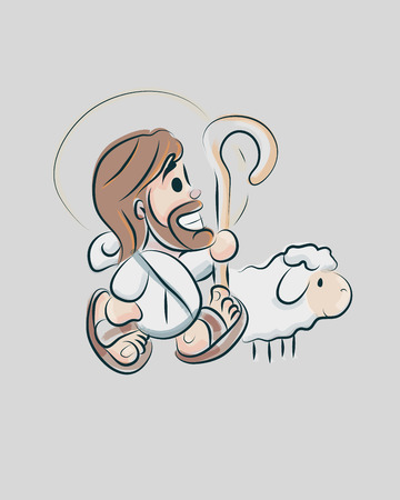 Hand drawn vector illustration or drawing of a smiling Jesus Good Shepherd with a sheep in a cartoon