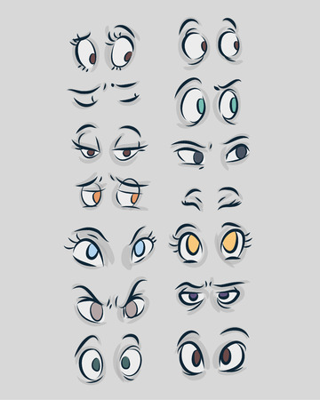 Hand drawn vector illustration or drawing of different types of eyes in a cartoon comic style Ilustração