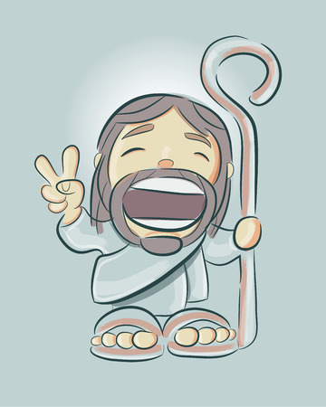 Hand drawn vector illustration or drawing of a smiling Jesus in a cartoon style