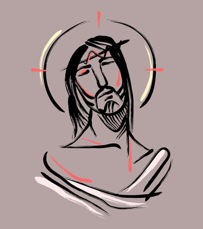 head in hands: Jesus at the Passion b. Hand drawn vector illustration or drawing of Jesus Christ at the Passion Illustration
