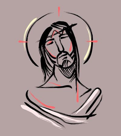 Jezus bij de Passie b. Hand getrokken vector illustratie of tekening van Jezus Christus aan de Passie